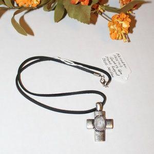 Faceted Quartz Gemstone Rugged Cross Necklace